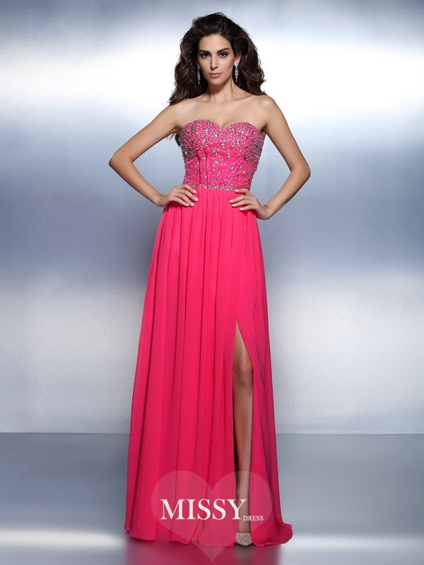 Sweetheart A-Line Sleeveless Beading Floor-Length Chiffon Dresses