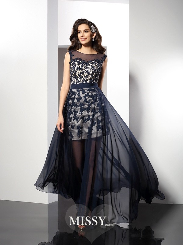 A-Line/Princess Sleeveless Scoop Floor-Length Elastic Woven Satin Gowns
