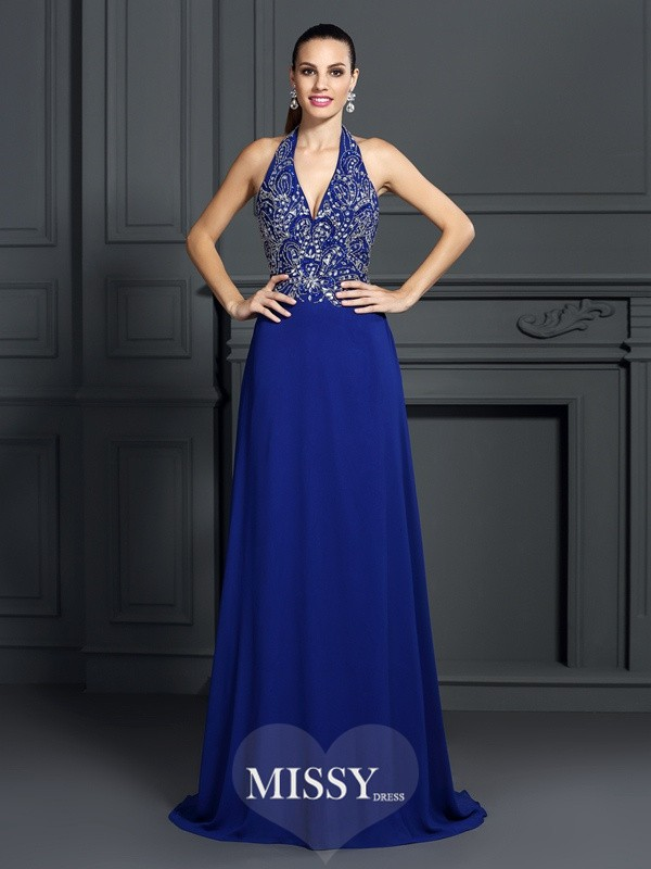 A-Line/Princess Halter Sleeveless Applique Sweep Chiffon Dresses