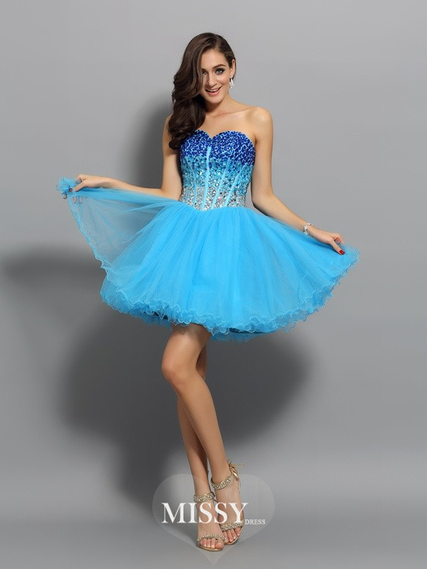 A-Line/Princess Satin Sweetheart Sleeveless Ruffles Short/Mini Gowns