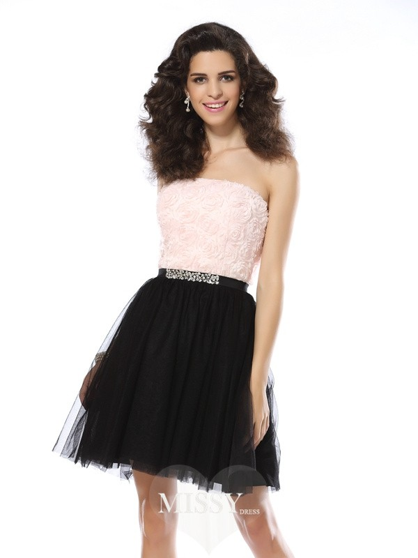 A-Line/Princess Sleeveless Strapless Short/Mini Tulle Gowns
