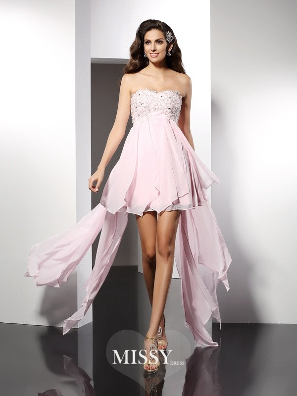A-Line/Princess Sweetheart Sleeveless Applique Asymmetrical Chiffon Gowns