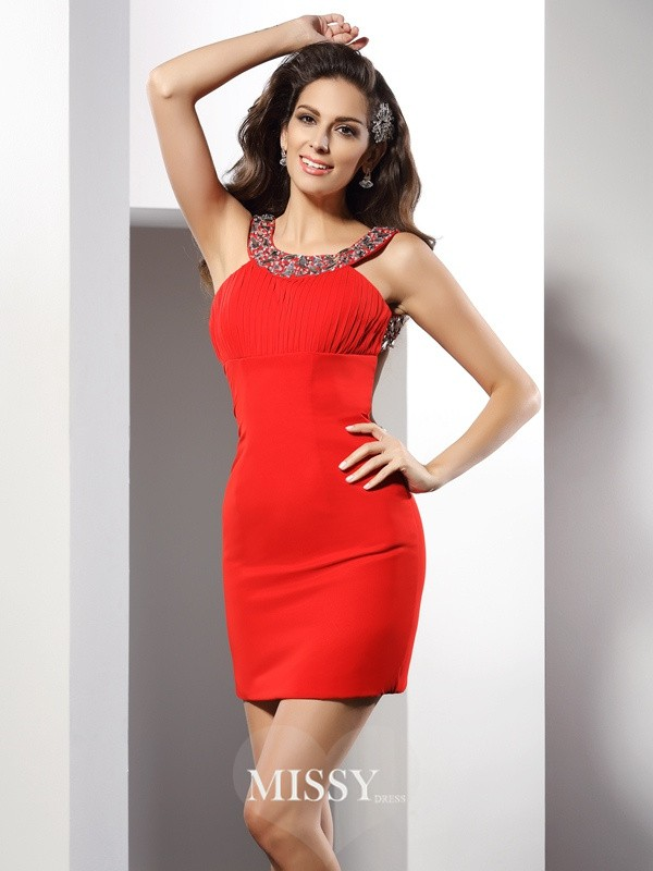 Sheath/Column Scoop Beading Sleeveless Short/Mini Chiffon Gowns
