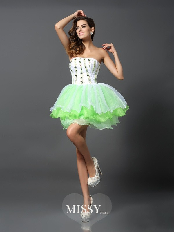 A-Line/Princess Strapless Sleeveless Ruffles Short/Mini Organza Gowns