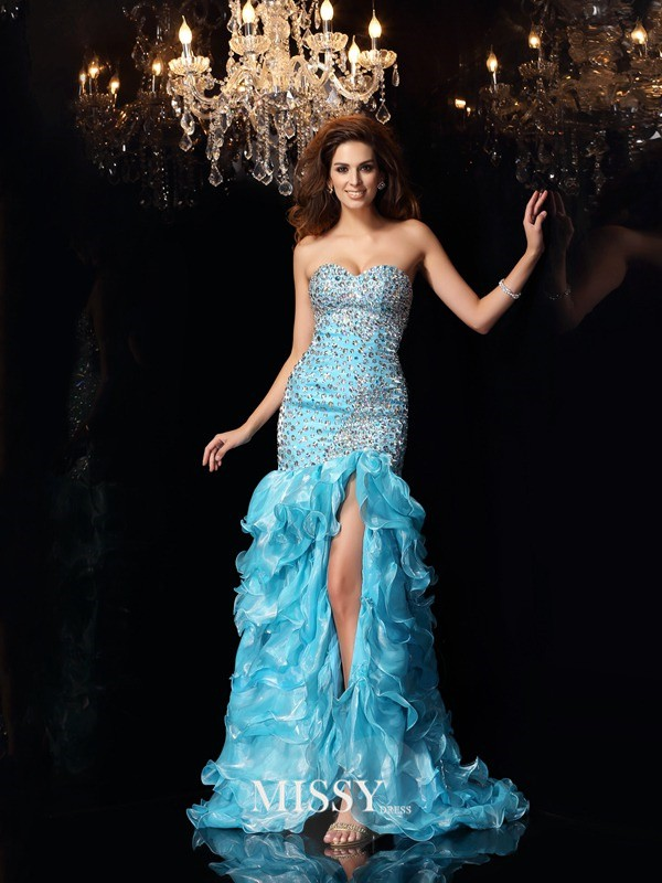 Trumpet/Mermaid Sweetheart Organza Beading Asymmetrical Dresses