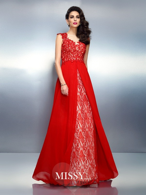 A-Line/Princess Bateau Sleeveless Applique Brush Train Net Dresses