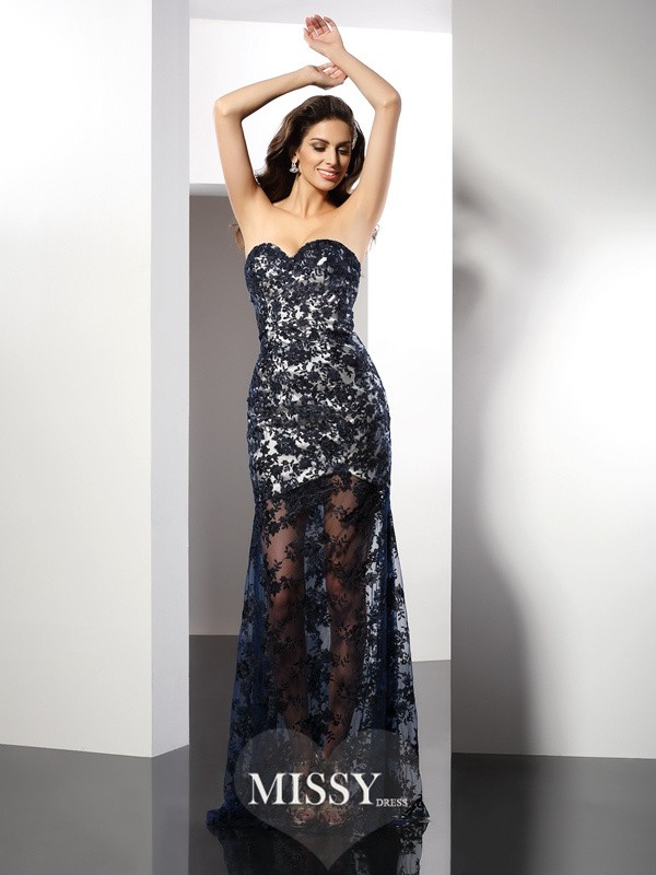 Sheath/Column Sweetheart Sleeveless Floor-Length Lace Satin Gowns