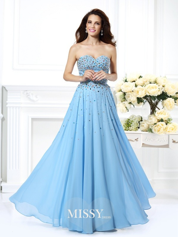 A-Line/Princess Sweetheart Beading Floor-Length Chiffon Dresses