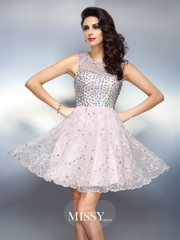 A-Line/Princess Bateau Sleeveless Beading Applique Short/Mini Satin Gowns