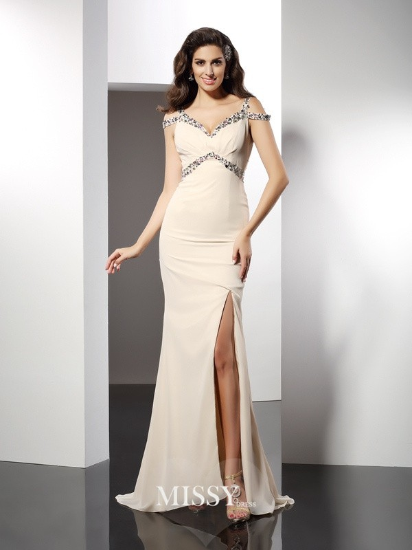 Trumpet/Mermaid Sweetheart Sleeveless Sweep Chiffon Dresses