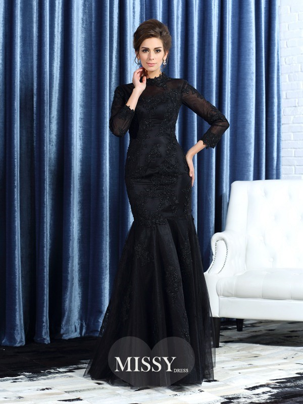 Trumpet/Mermaid High Neck Long Sleeves Tulle Floor-Length Applique Mother of the Bride Gowns