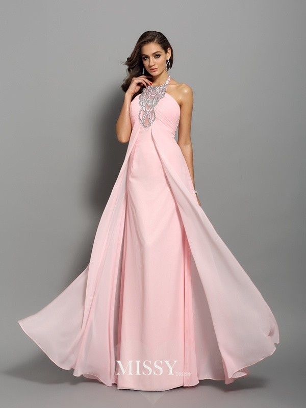 Sheath/Column Chiffon Floor-Length High Neck Beading Dresses
