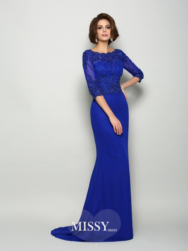Trumpet/Mermaid Scoop 3/4 Sleeves Chiffon Beading Sweep/Brush Train Mother of the Bride Gowns