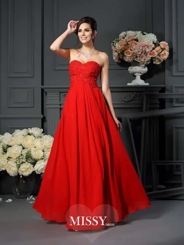 A-Line/Princess Sweetheart Beading Sleeveless Floor-Length Chiffon Mother of the Bride Gowns
