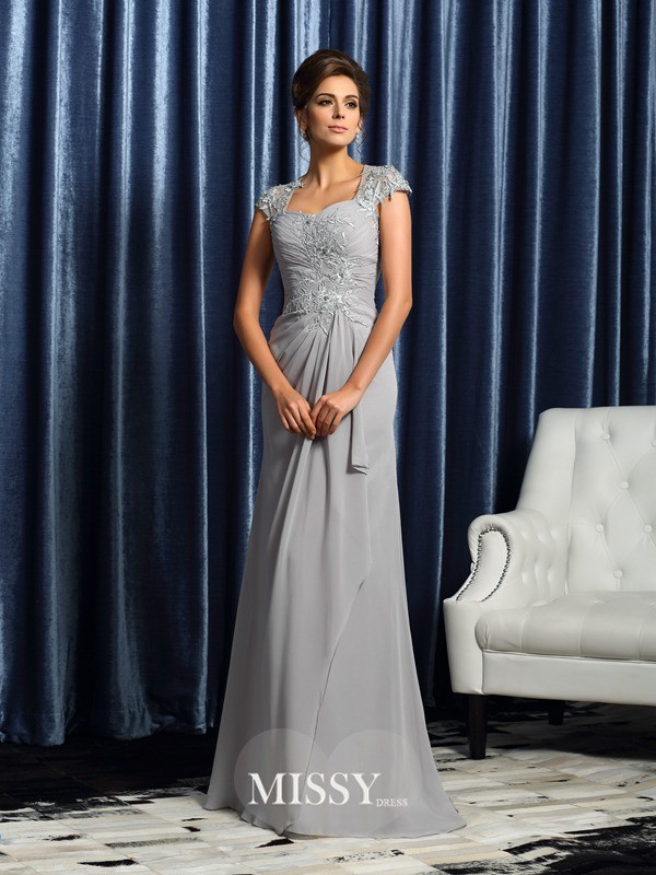 Sheath/Column Sweetheart Short Sleeves Sweep/Brush Train Chiffon Applique Mother of the Bride Gowns
