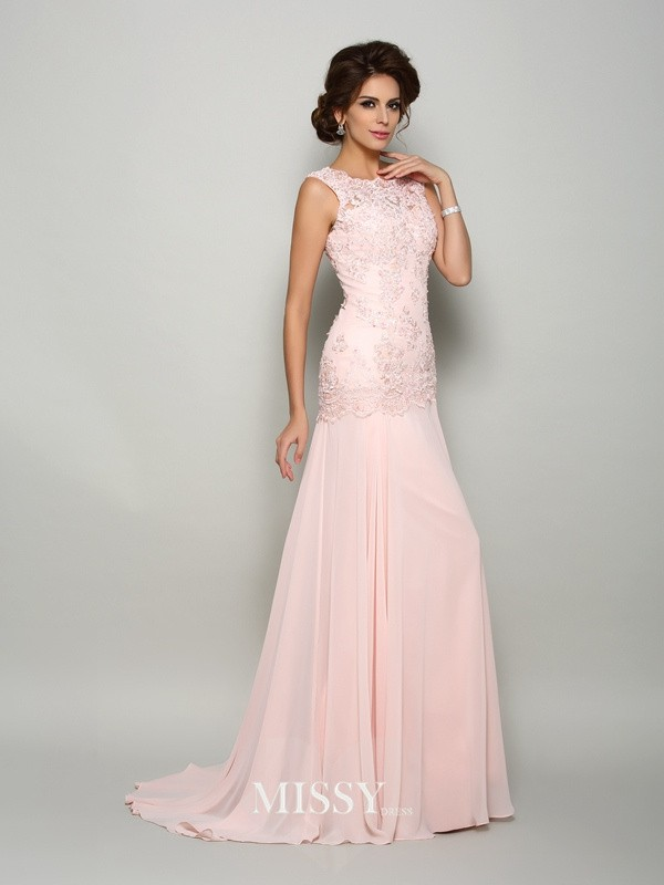 Trumpet/Mermaid Scoop Sleeveless Sweep/Brush Train Chiffon Beading Mother of the Bride Gowns