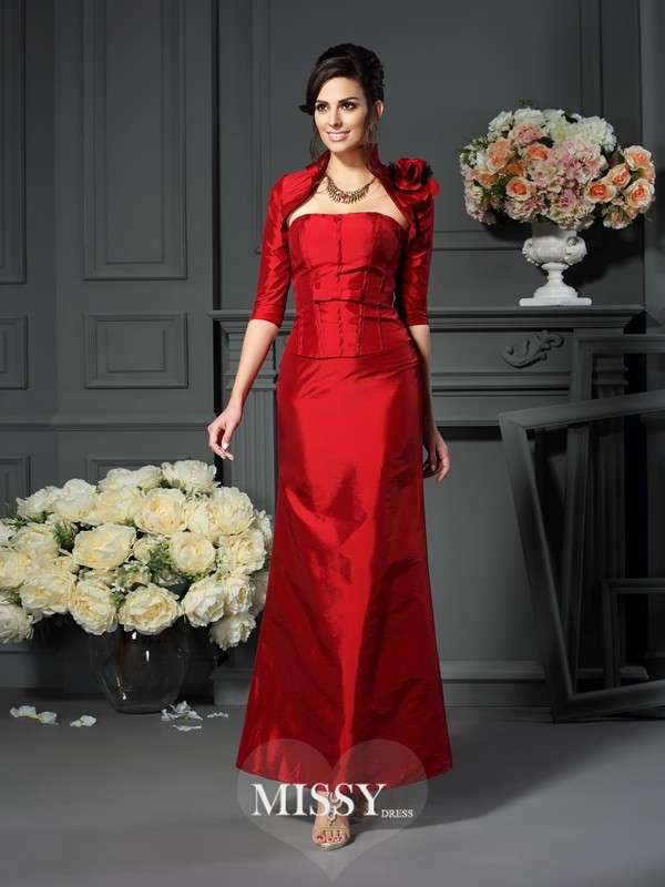 A-Line/Princess Sleeveless Strapless Hand-Made Flower Ankle-Length Taffeta Mother of the Bride Gowns