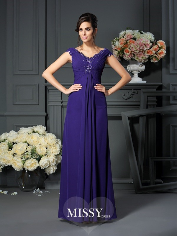 A-Line/Princess V-neck Beading Sleeveless Floor-Length Chiffon Mother of the Bride Gowns