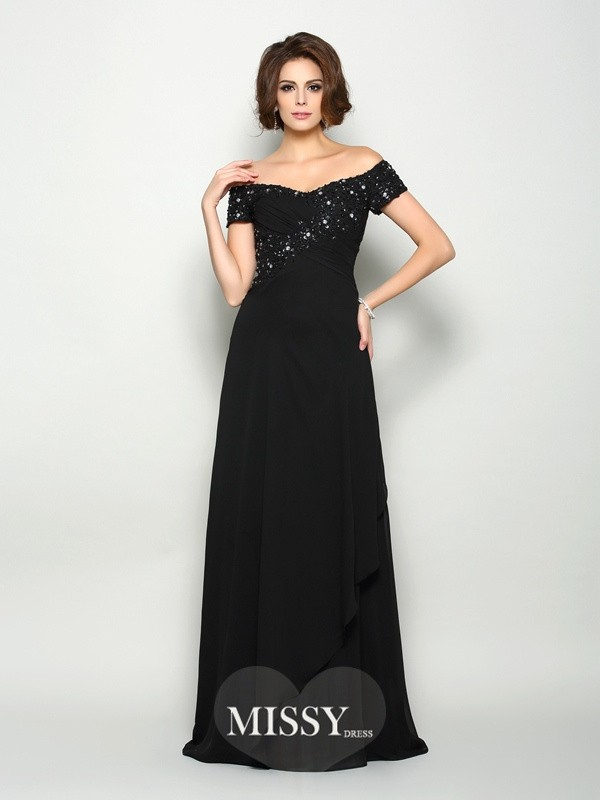 A-Line/Princess Off-the-Shoulder Short Sleeves Chiffon Sweep/Brush Train Beading Mother of the Bride Gowns