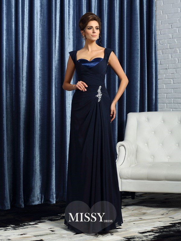 A-Line/Princess Sleeveless Chiffon Straps Chiffon Floor-Length Beading Mother of the Bride Gowns