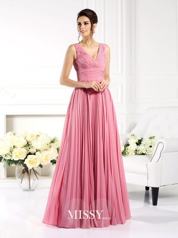 A-Line/Princess Sweetheart Sleeveless Pleats Floor-Length Chiffon Gowns