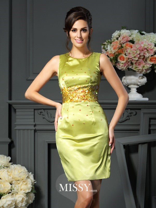 Sheath/Column Scoop Beading Sleeveless Short/Mini Silk like Satin Mother of the Bride Gowns