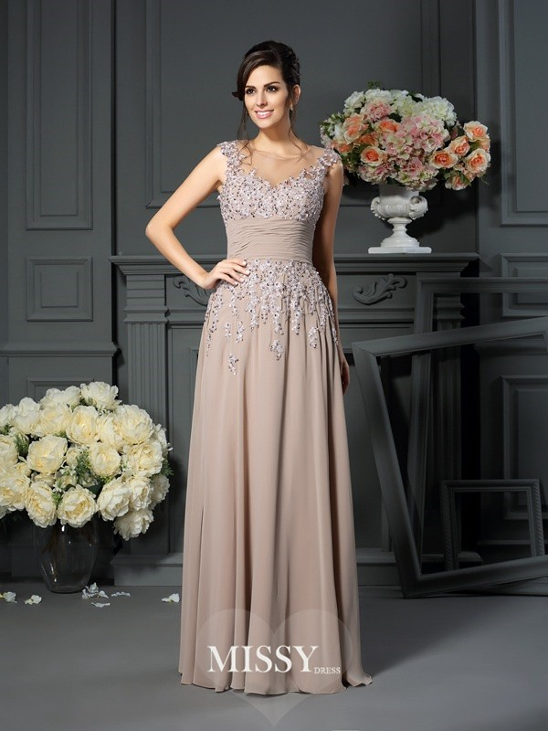 A-Line/Princess Scoop Beading Sleeveless Floor-Length Silk like Satin Mother of the Bride Gowns