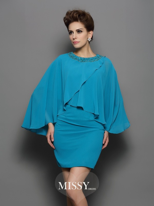 Sheath/Column Scoop Long Sleeves Silk like Satin Beading Short/Mini Gowns