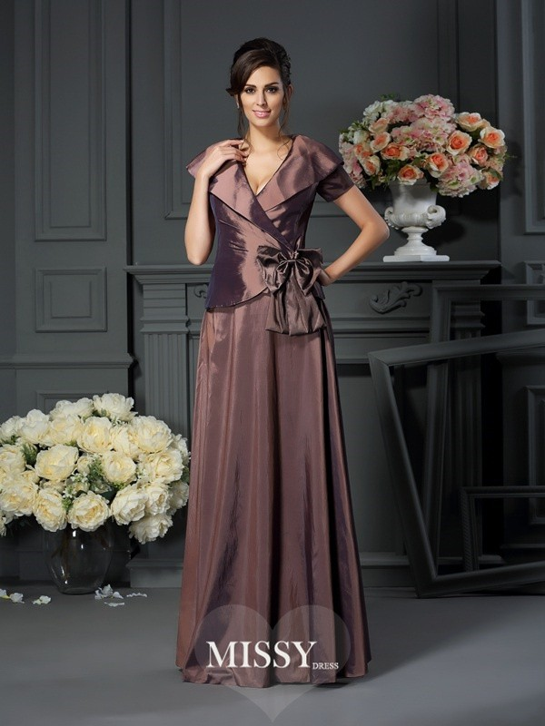 A-Line/Princess V-neck Bowknot Floor-Length Short Sleeves Taffeta Mother of the Bride Gowns