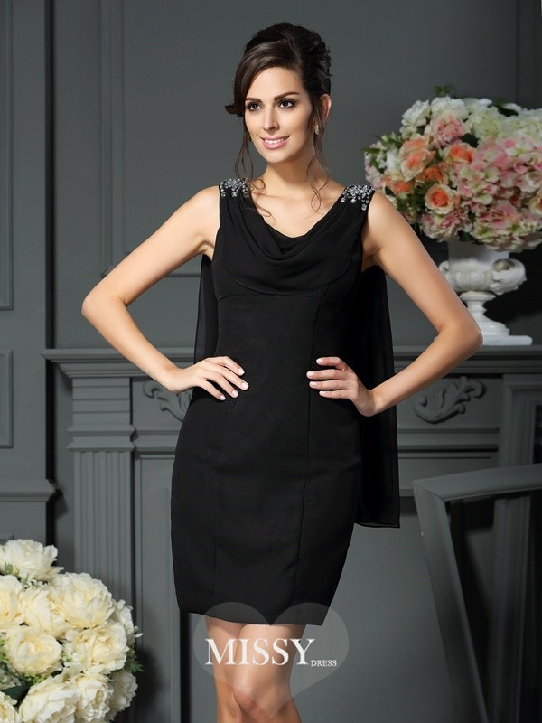 Sheath/Column Scoop Sleeveless Short/Mini Chiffon Beading Mother of the Bride Gowns
