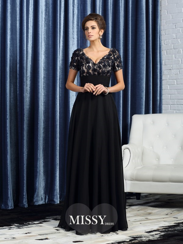 Princess Short Sleeves V-neck Floor-Length Chiffon Mother of the Bride Dresses