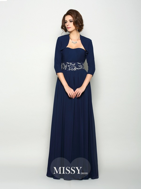 A-Line Sleeveless Chiffon Sweetheart Beading Floor-Length Mother of the Bride Dresses