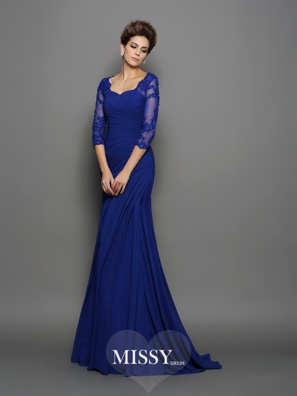 Trumpet/Mermaid Sweetheart 3/4 Sleeves Ruched Sweep/Brush Train Chiffon Mother of the Bride Dresses