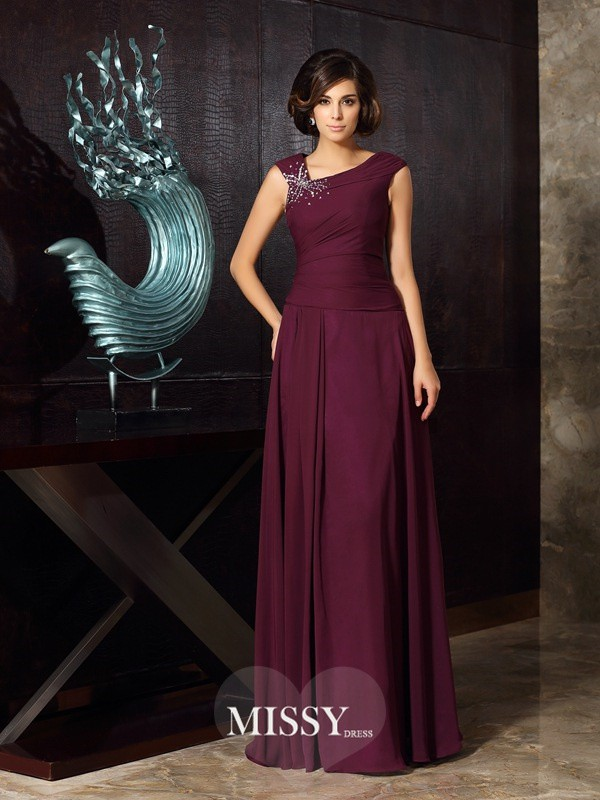 A-Line/Princess Chiffon Floor-Length Beading Mother of the Bride Dresses
