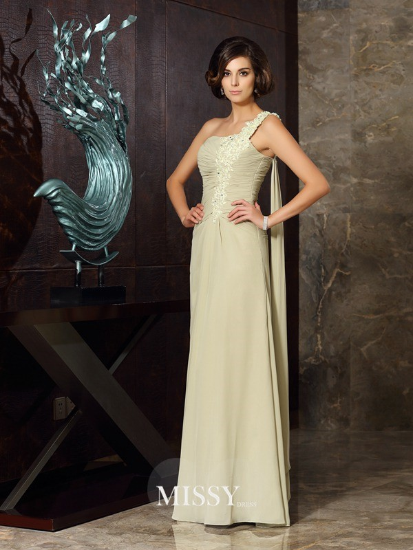 A-Line/Princess One-Shoulder Floor-Length Chiffon Applique Dresses