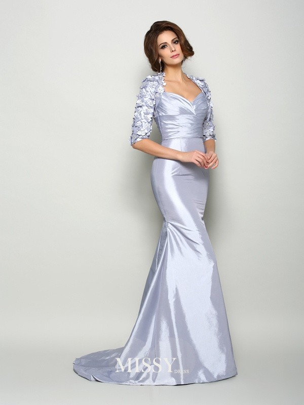 Trumpet/Mermaid Sweetheart 1/2 Sleeves Taffeta Applique Sweep/Brush Train Mother of the Bride Dresses