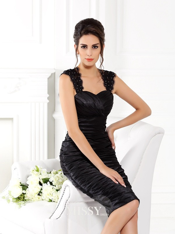 Sheath/Column Straps Knee-Length Taffeta Dresses