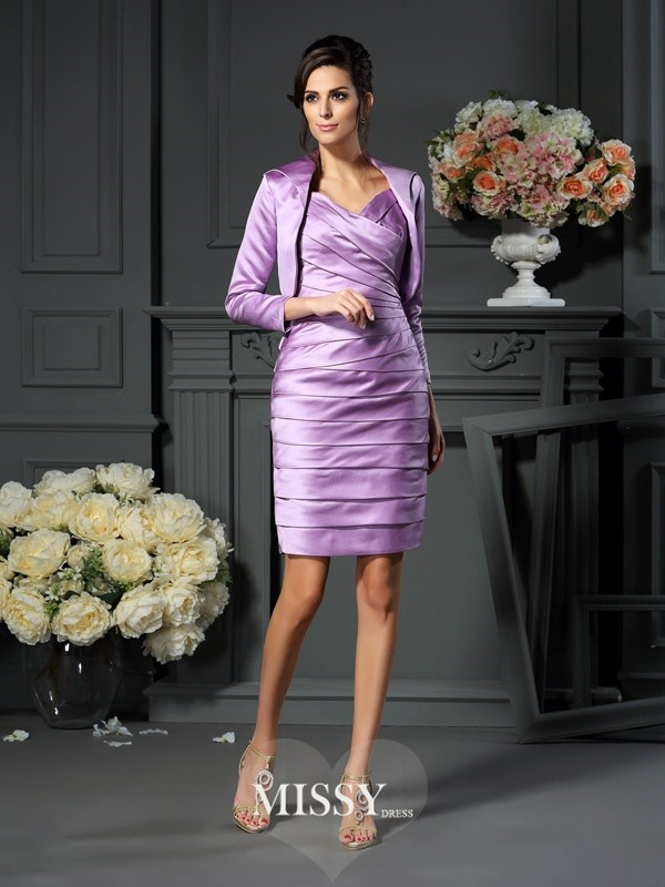 Sheath/Column Straps Satin Ruched Knee-length Mother of the Bride Dresses
