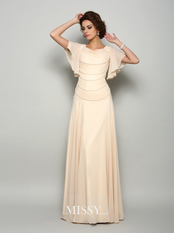 A-Line/Princess Short Sleeves Square Chiffon Floor-Length Beading Mother of the Bride Dresses