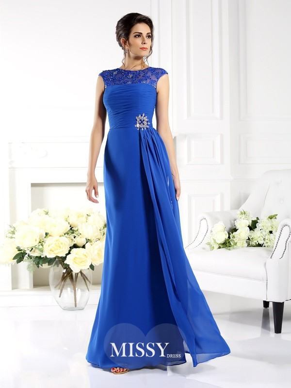 A-Line/Princess Bateau Sleeveless Applique Floor-Length Chiffon Gowns