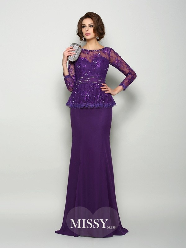 Trumpet/Mermaid Scoop Long Sleeves Chiffon Sweep/Brush Train Beading Mother of the Bride Dresses