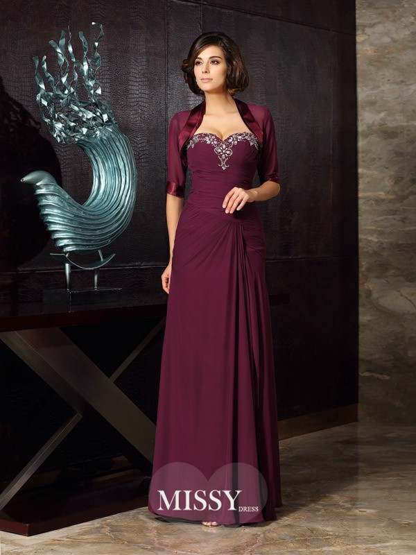 Sheath/Column Sweetheart Beading Chiffon Floor-Length Mother of the Bride Dresses