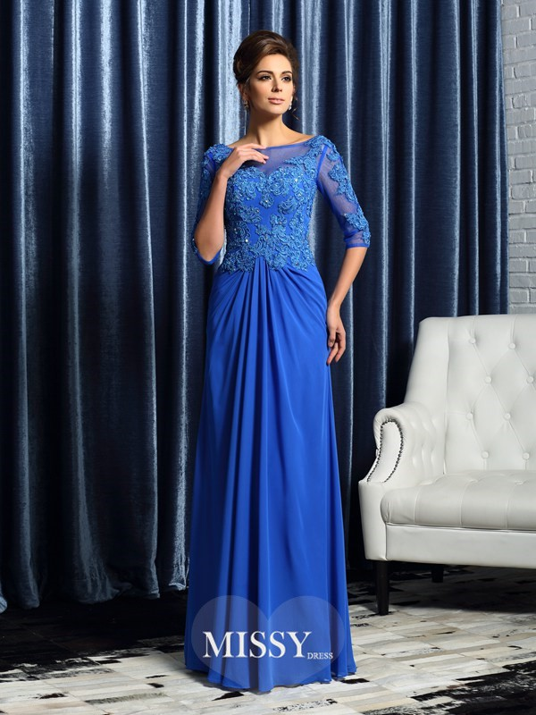 A-Line/Princess 1/2 Sleeves Bateau Floor-Length Beading Applique Chiffon Mother of the Bride Dresses