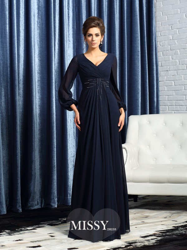 A-Line/Princess V-neck Long Sleeves Chiffon Floor-Length Beading Mother of the Bride Dresses