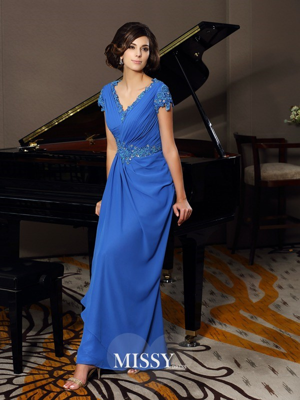 A-Line/Princess Short Sleeves V-neck Chiffon Beading Applique Floor-Length Mother of the Bride Dresses