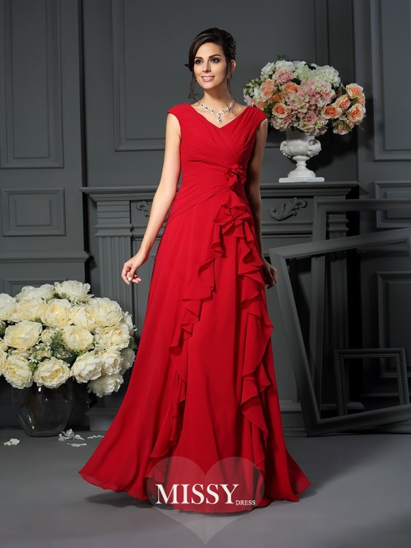 A-Line/Princess V-neck Floor-Length Chiffon Hand-Made Flower Dresses