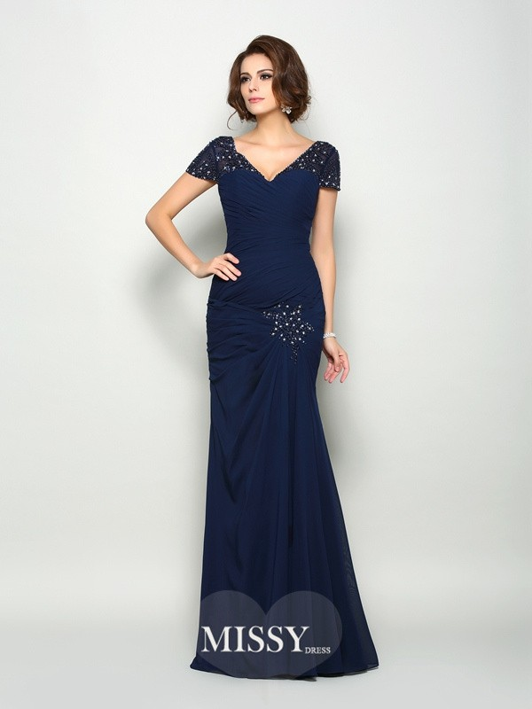 Trumpet/Mermaid Short Sleeves V-neck Chiffon Floor-Length Beading Mother of the Bride Dresses