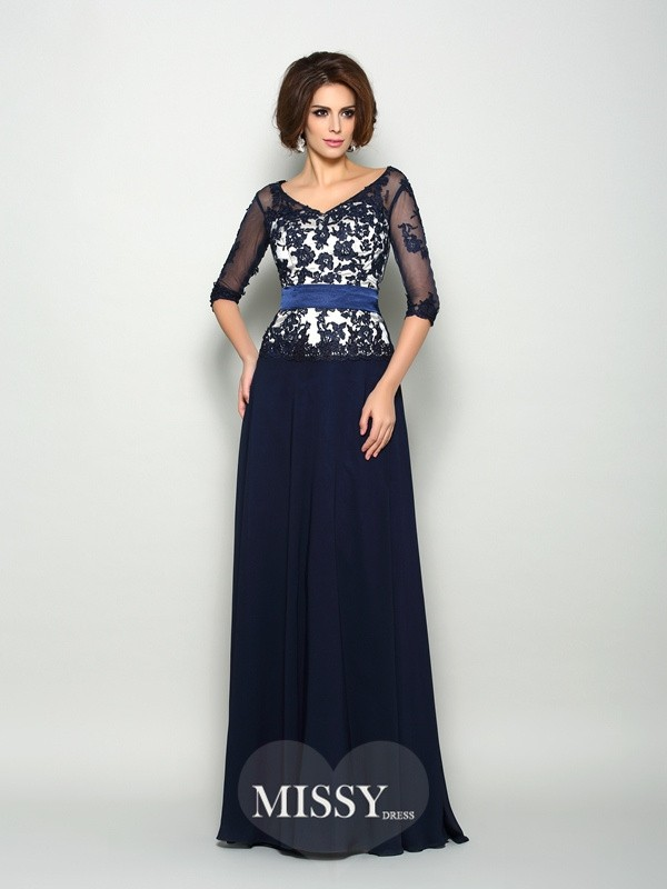 A-Line/Princess 1/2 Sleeves Chiffon Applique V-neck Sweep/Brush Train Mother of the Bride Dresses
