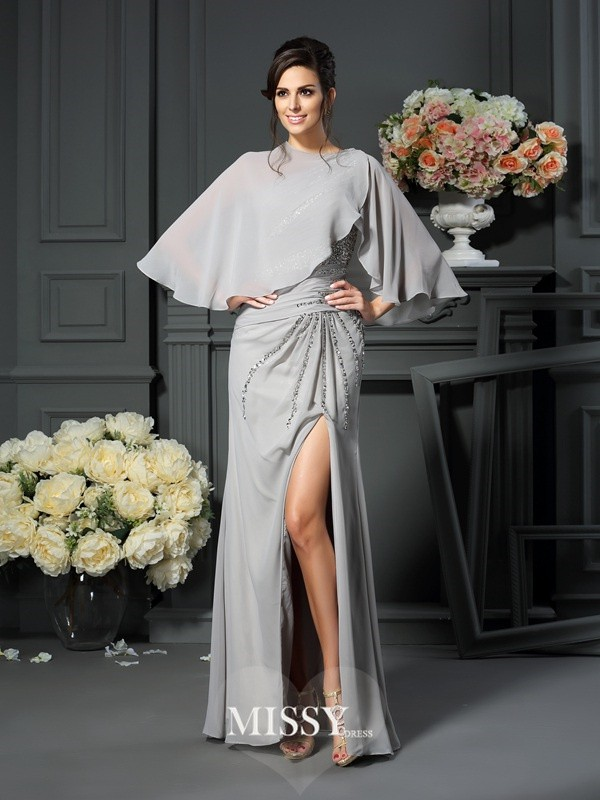 Trumpet/Mermaid One-Shoulder Chiffon Beading Floor-Length Mother of the Bride Dresses