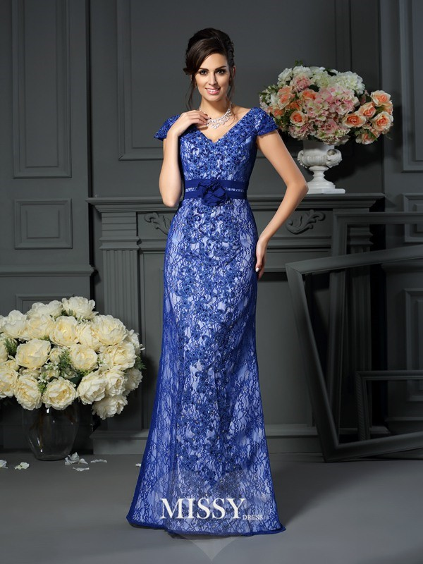 Trumpet/Mermaid Short Sleeves V-neck Satin Beading Floor-Length Applique Dresses